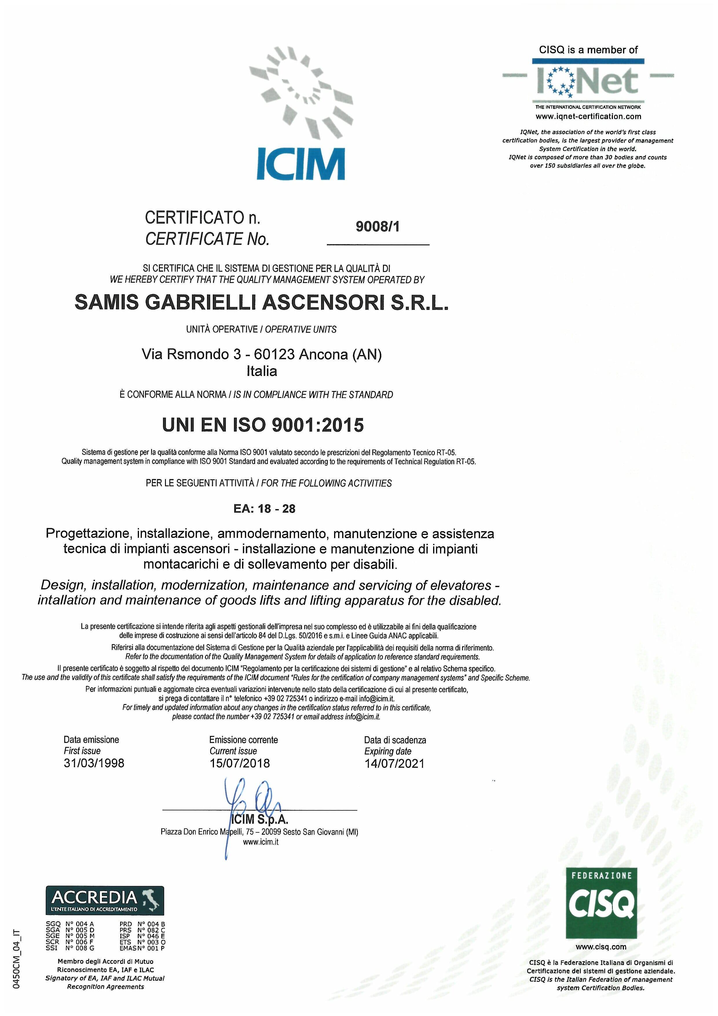 CERTITICATO ICIM ISO 9001